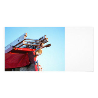 fire truck ladder close up customised photo card