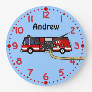 Fire Truck Lovers Personalized Name Boys Clock