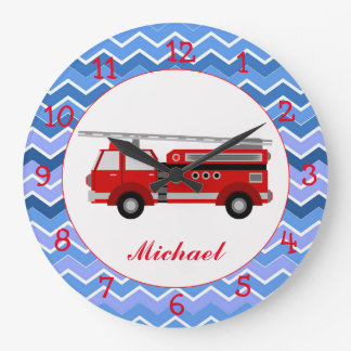 Fire truck on a chevron background large clock