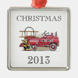 Fire Truck Pedal Car Silver-Colored Square Decoration