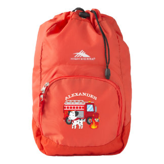 Fire Truck Personalized School Back Pack Backpack