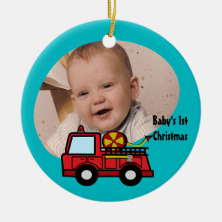 Fire Truck Photo Decoration Double-Sided Ceramic Round Christmas Ornament