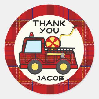 Fire Truck Plaid Classic Round Sticker