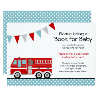 Fire Truck Polka Dot Baby Shower Bring a Book Card