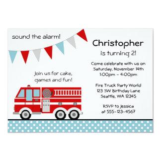 Fire Truck Polka Dot Banner Boy Birthday Party 13 Cm X 18 Cm Invitation Card
