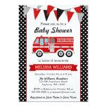 Fire Truck Polka Dot Bunting Baby Shower 13 Cm X 18 Cm Invitation Card