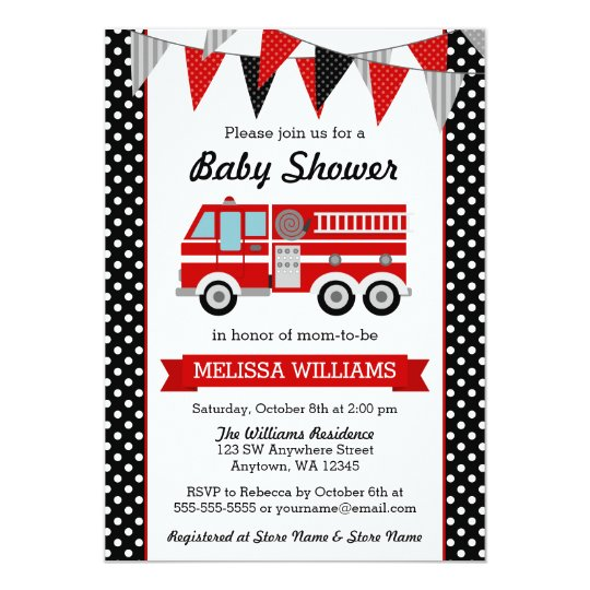 Fire Truck Polka Dot Bunting Baby Shower Card