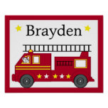 Fire Truck Puppy Personalised Name Art Print