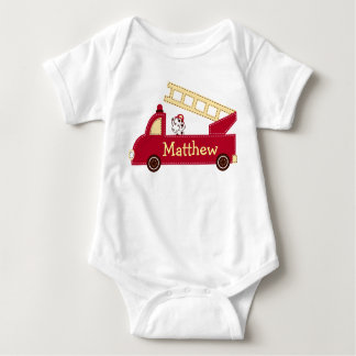Fire Truck Puppy Personalized Baby Creeper T-Shirt