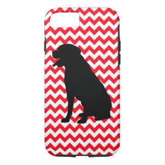 Fire Truck Red Chevron With Lab Silhouette iPhone 7 Case