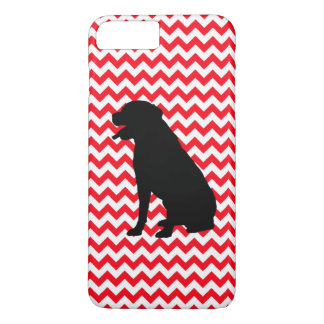 Fire Truck Red Chevron With Lab Silhouette iPhone 7 Plus Case