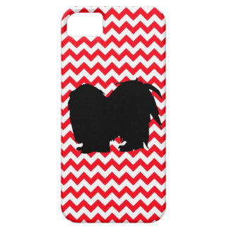 Fire Truck Red Chevron With Shih Tzu Silhouette iPhone 5 Cases
