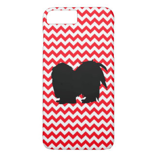 Fire Truck Red Chevron With Shih Tzu Silhouette iPhone 7 Plus Case