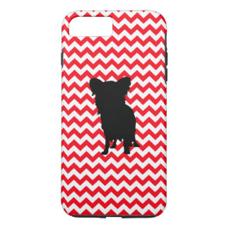 Fire Truck Red Chevron With Yorkie Silhouette iPhone 7 Plus Case