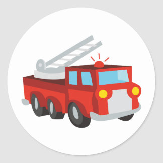 Fire Truck Round Sticker