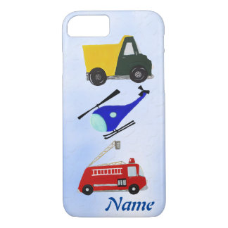 Fire truck, sand truck and helicopter iPhone 7 case