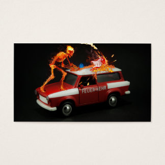 Fire truck skeleton business card