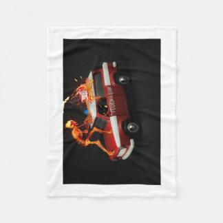 Fire truck skeleton fleece blanket
