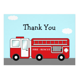 Fire Truck Thank You Card Personalized Invites