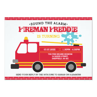 Fire truck themed birthday party invitation