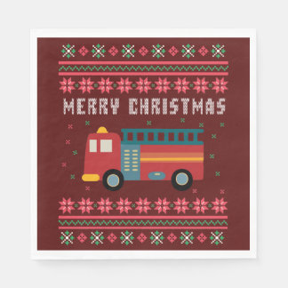 Fire Truck Ugly Christmas Sweater Paper Napkin