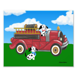 Fire truck with Dalmations print