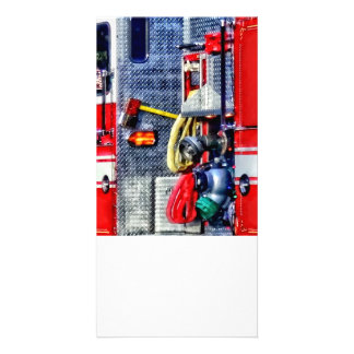Fire Truck With Hoses and Ax Personalized Photo Card