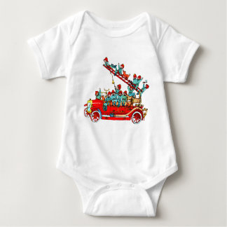 Fire Truck with Kids Baby Tee