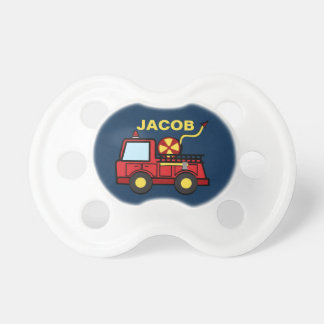 Fire Truck with Name Baby Pacifiers