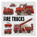 Fire Trucks Firefighters Poster