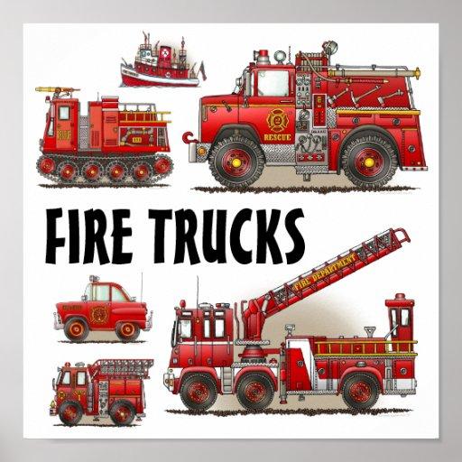Fire Trucks Firefighters Poster