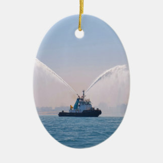 Fire Tug Welcome Ceramic Oval Decoration