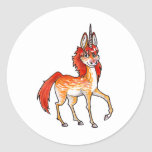 Fire Unicorn Round Stickers
