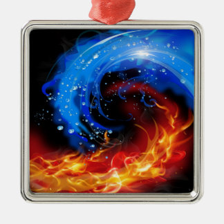 Fire & Water Cool Abstract Silver-Colored Square Decoration