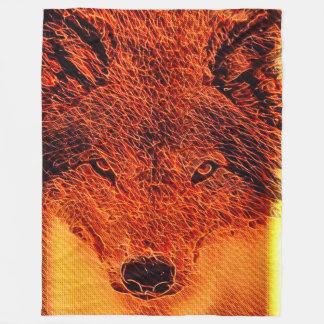 Fire Wolf Fantasy Fractal Art Fleece Blanket