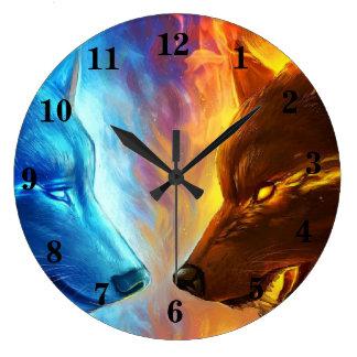 Fire Wolves Wall Clock