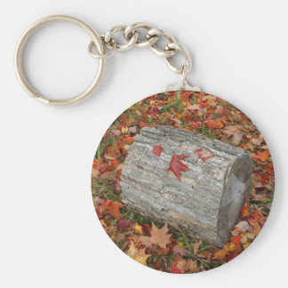 Fire  Wood in Fall Leaves Basic Round Button Key Ring