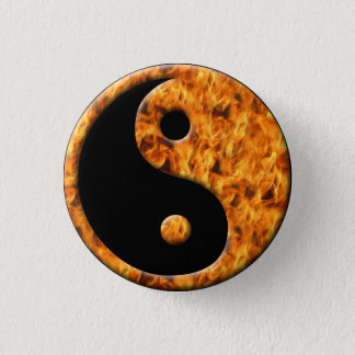Fire Ying Yang 3 Cm Round Badge