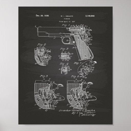 Firearm 1938 Patent Art Chalkboard Poster