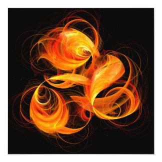 "Fireball Abstract Art 5.25"" Square Invitation Card"