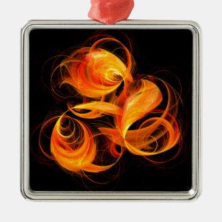 Fireball Abstract Art Square Silver-Colored Square Decoration