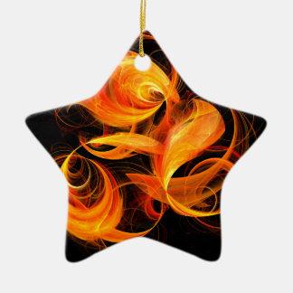 Fireball Abstract Art Star Ornament