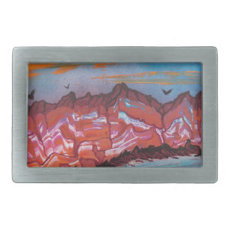 Fireballs over landscape belt buckle