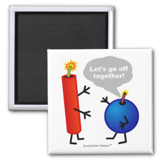 Firecracker and Smoke Bomb - Let's Go Off Together Square Magnet