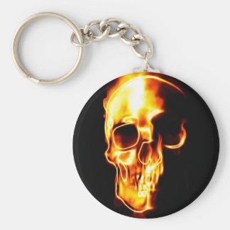 Fired skull basic round button key ring