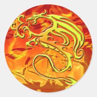 FireDragon_Zazzle Round Sticker