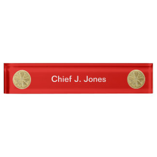 Firefighter 4 Bugle Gold Medallion Name Plate