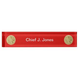 Firefighter 4 Bugle Gold Medallion Name Plate