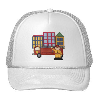 Firefighter 4th Birthday Gifts Trucker Hat