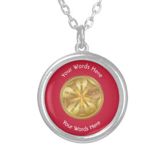 Firefighter 5 Bugle Chiefs Gold Medallion Round Pendant Necklace